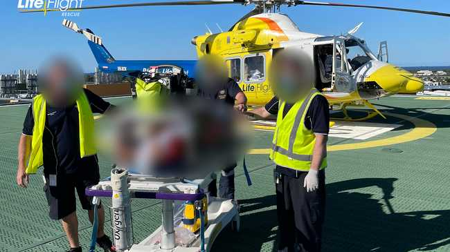 The man was airlifted to the Sunshine Coast University Hospital.