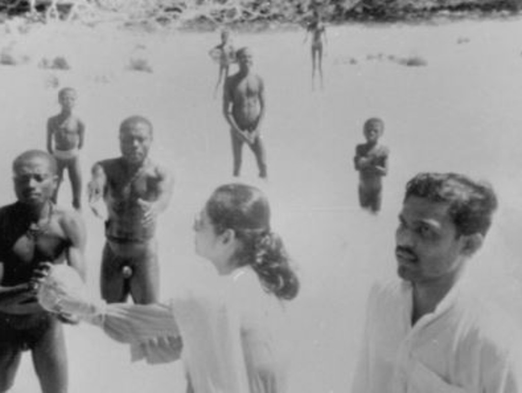 Sentinelese greet Indian anthropologists in 1991 in what remains their only friendly contact with outsiders. Picture: Supplied