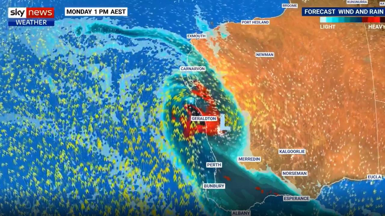 One model has Cyclone Seroja crossing land as far south as Geraldton, which is extremely rare. Picture: BOM