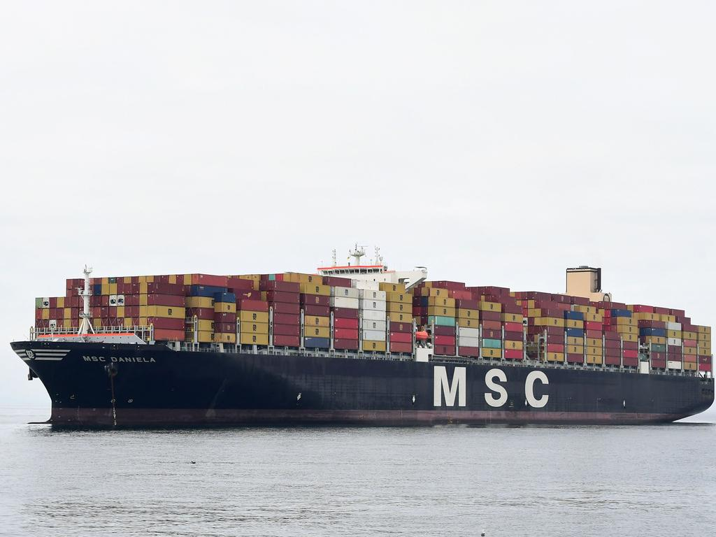 A cargo ship waits for entry to the Port of Los Angeles on October 6. Picture: Frederic J. Brown/AFP