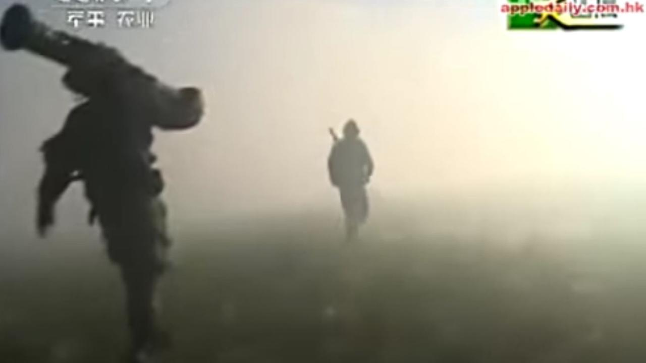 Grabs from Chinese state media of the invasion drill.