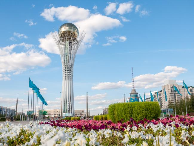 At the heart of the city is Bayterek Tower — as symbolic of Kazakhstan as the Eiffel Tower is to France. The 97m tower, built to commemorate the move of the country's capital in 1997, is topped with a huge, golden sphere. For just a few dollars, tourists can take an elevator to the top to see views of the city from the globe.