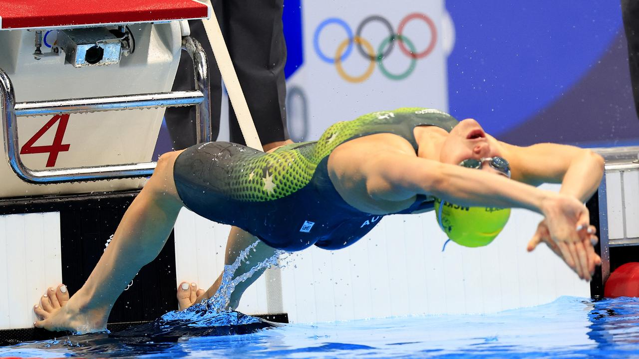 Kaylee McKeown pictured in this incredible start photo of the 200m backstroke semi final. Picture: Adam Head