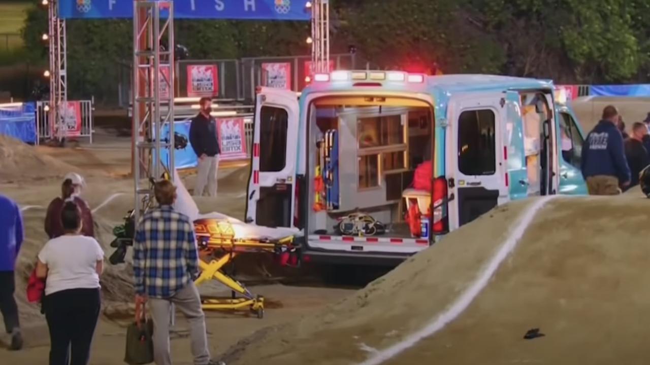 Nick Jonas was taken to hospital in an ambulance.