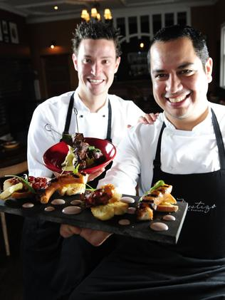 Glenelg's new Peruvian restaurant Mestizo Cocino is well worth a visit these holidays ... pictured are owners, chefs Justin Hamam and Renzo Canepa. Picture: Mark Brake