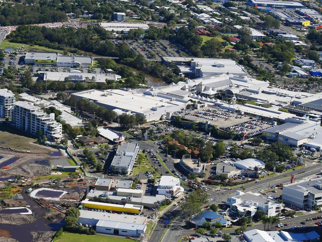 The Sunshine Plaza at Maroochydore as seen from the air. Photo Lachie Millard