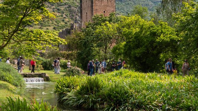 The Gardens of Ninfa. the abandoned town. Cisterna di Latina. Lazio. Italy.