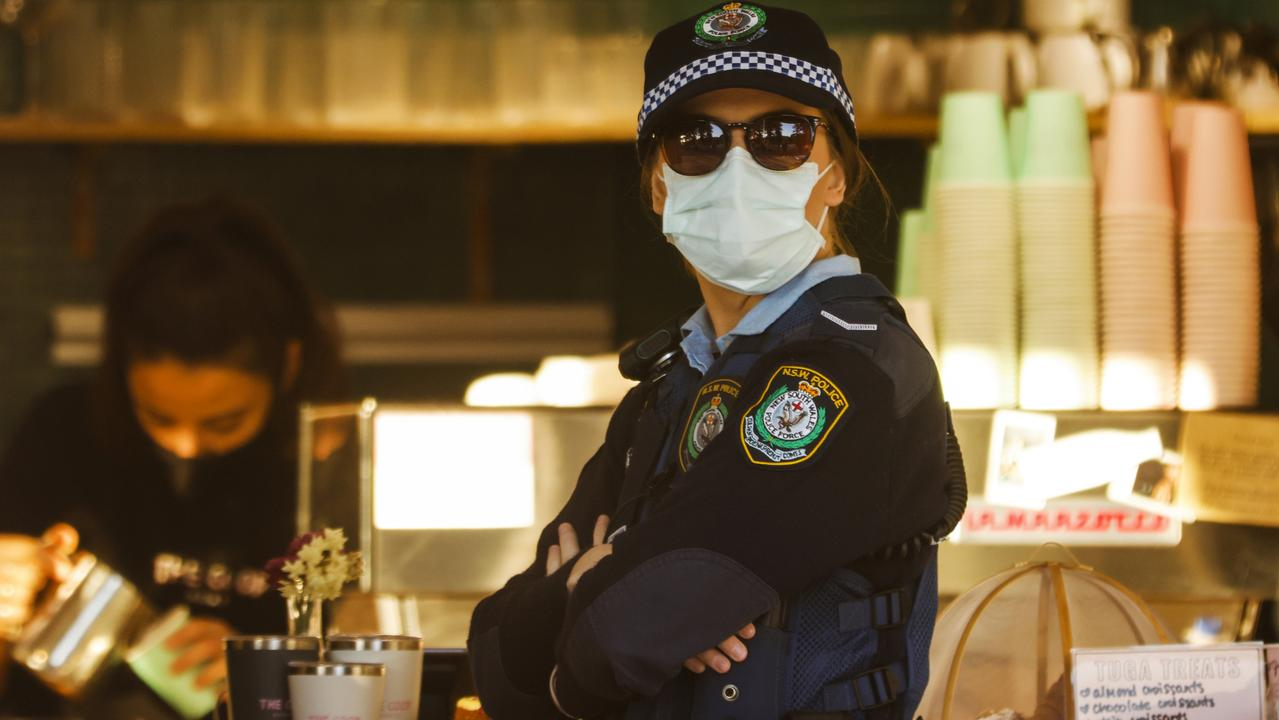 A police officer at Bronte Beach. Picture: Jenny Evans/Getty Images