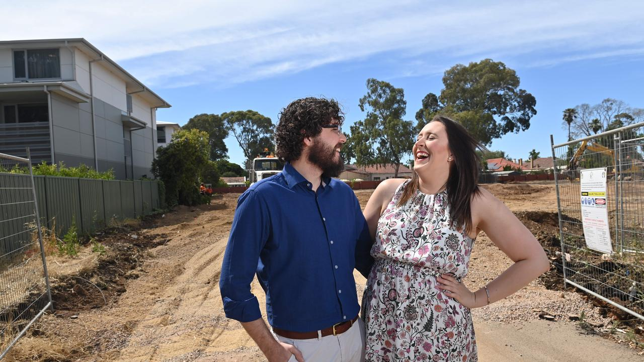 A 39-home development at Woodville is offering home buyers the chance to get their slice of the Australian Dream. Marshall Calvert and Ella Lemke have bought an investment property at the site. Picture: Keryn Stevens