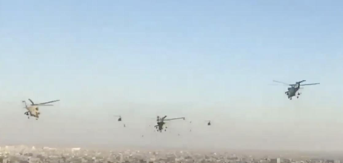 Swarm of Helicopters Flies Over Baghdad as Iraq Declares Victory Over ISIS. Credit - Facebook/Iraqi Army Aviation via Storyful
