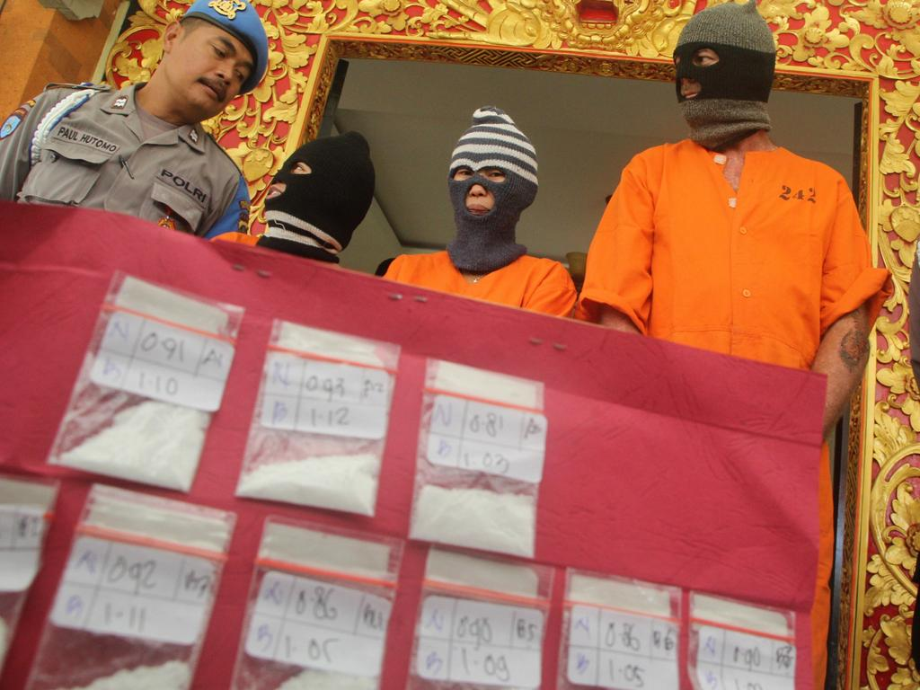 Suspects in drug crimes are often paraded in front of the media in Denpasar. Picture: Zul Edoardo/ News Corp Australia