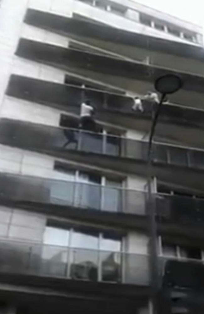 Mamoudou Gassama scaled a Paris apartment building to save a child dangling from a balcony, and video of the rescue went viral. Picture: AP