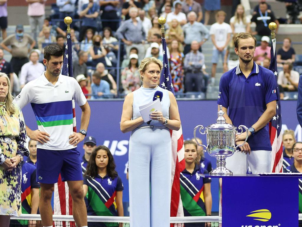 NEW YORK, NEW YORK - SEPTEMBER 12: Michael McNulty, USTA President, speaks at the trophy ceremony after Daniil Medvedev of Russia defeated Novak Djokovic of Serbia during the Men's Singles final match on Day Fourteen of the 2021 US Open at the USTA Billie Jean King National Tennis Center on September 12, 2021 in the Flushing neighborhood of the Queens borough of New York City.   Matthew Stockman/Getty Images/AFP == FOR NEWSPAPERS, INTERNET, TELCOS & TELEVISION USE ONLY ==