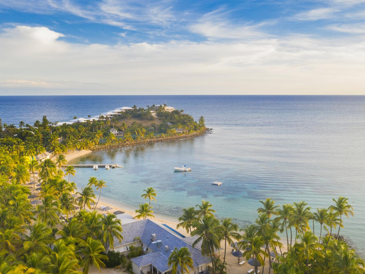 Aerial view of palm-fringed beach at Morris Bay, Old Road, Antigua, Antigua and Barbuda, Caribbean, West Indies