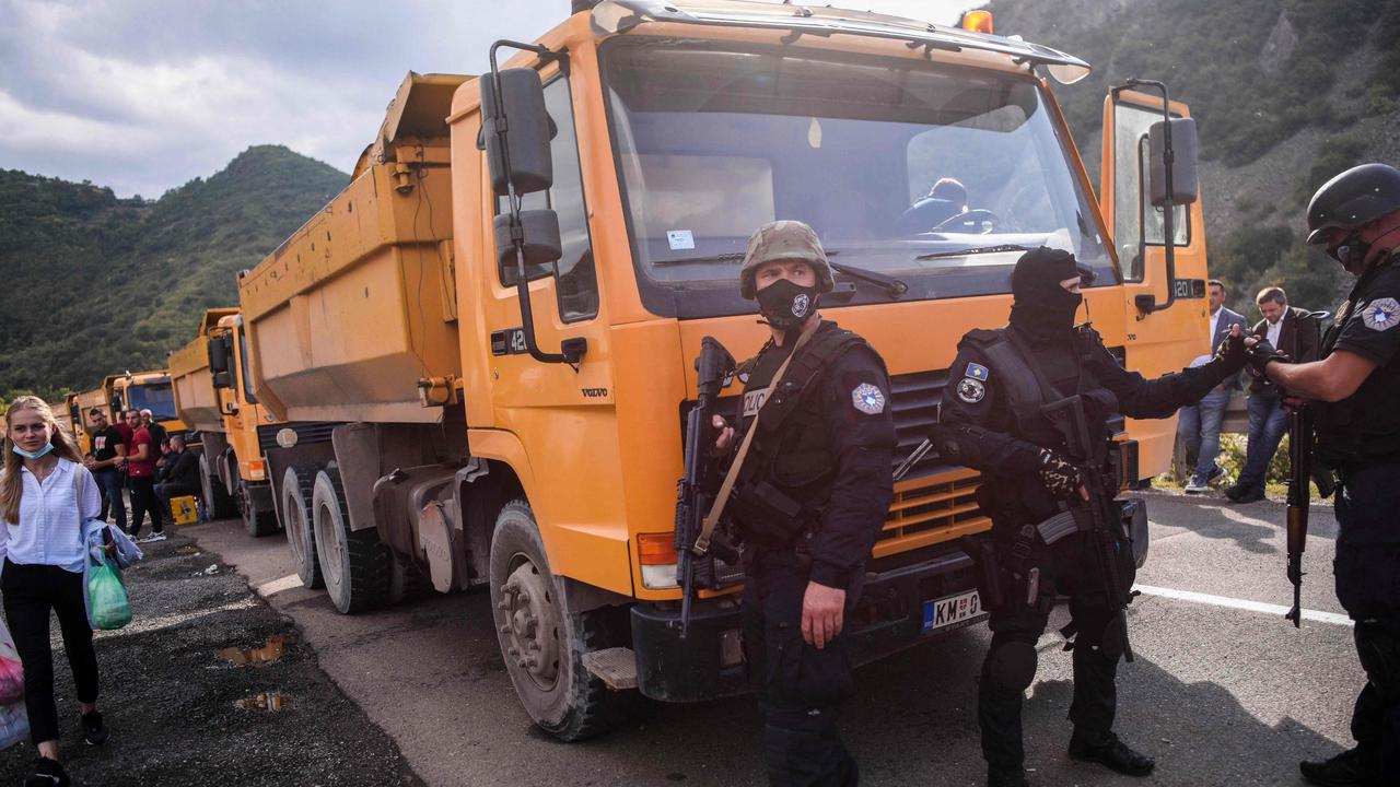 Kosovo police special unit secure the area near the Jarinje border crossing on September 20. Picture: Armend Nimani/AFP