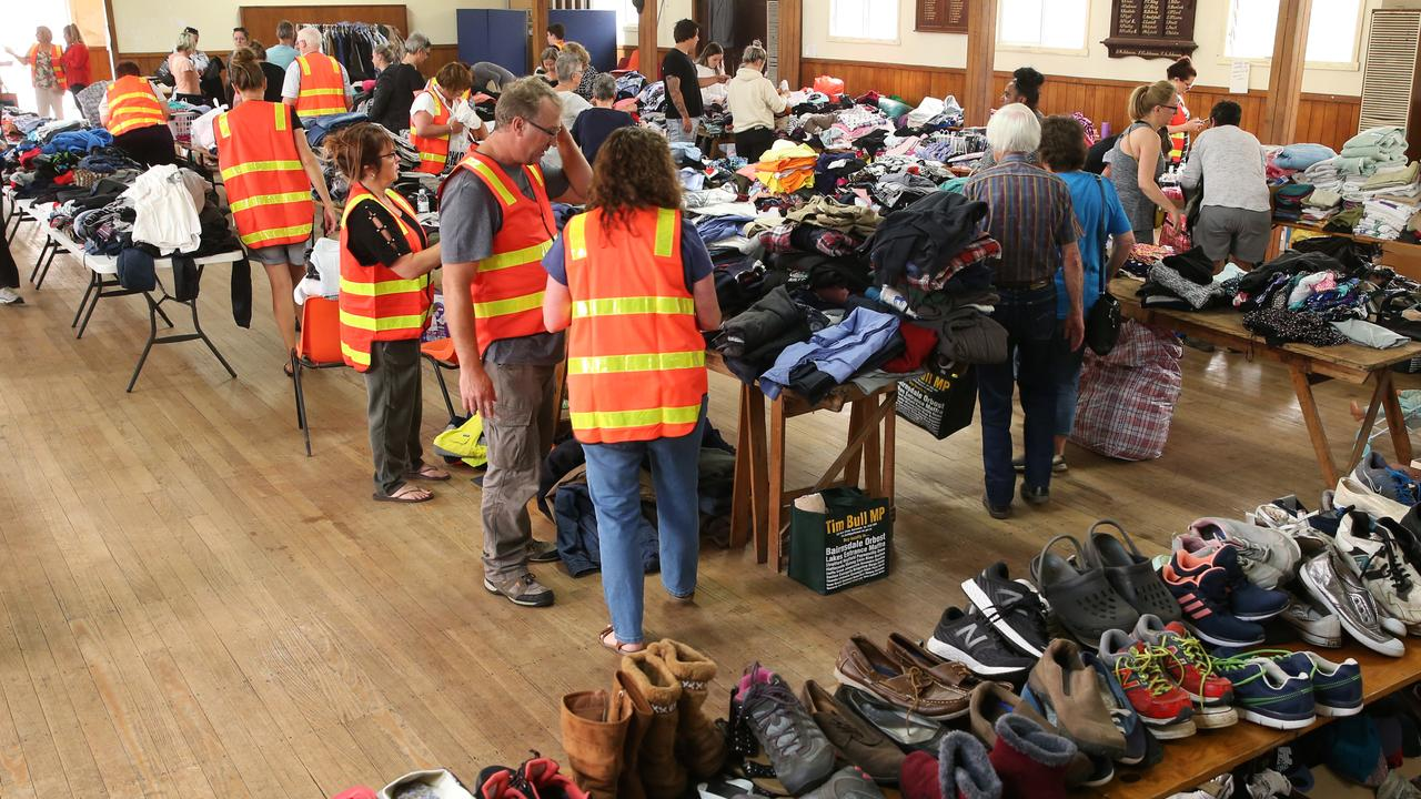 The Lucknow Memorial hall outside of Bairnsdale is full of donated clothes, food and toys from the community for victims of the Gippsland bushfires. Picture: David Crosling