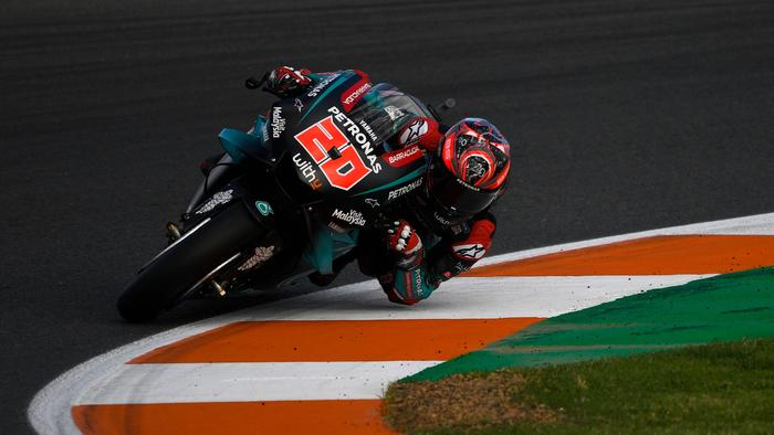 Petronas Yamaha SRT's French rider Fabio Quartararo rides during the second free practice of the Valencia Grand Prix, at the Ricardo Tormo racetrack, in Cheste near Valencia, on November 15, 2019. (Photo by PIERRE-PHILIPPE MARCOU / AFP) (Photo by PIERRE-PHILIPPE MARCOU/AFP via Getty Images)