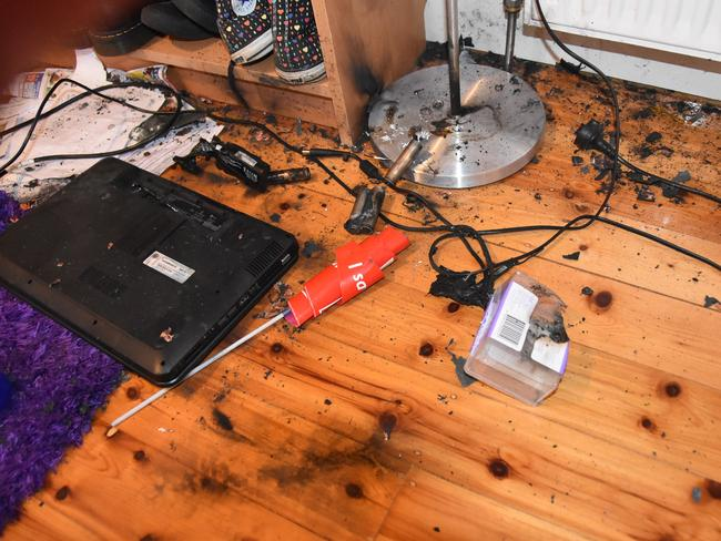 The explosion left burn marks in the floor. Source: MFB