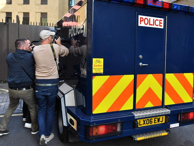 A police van suspected of carrying Salih Khater arrives at Westminster Magistrates Court.