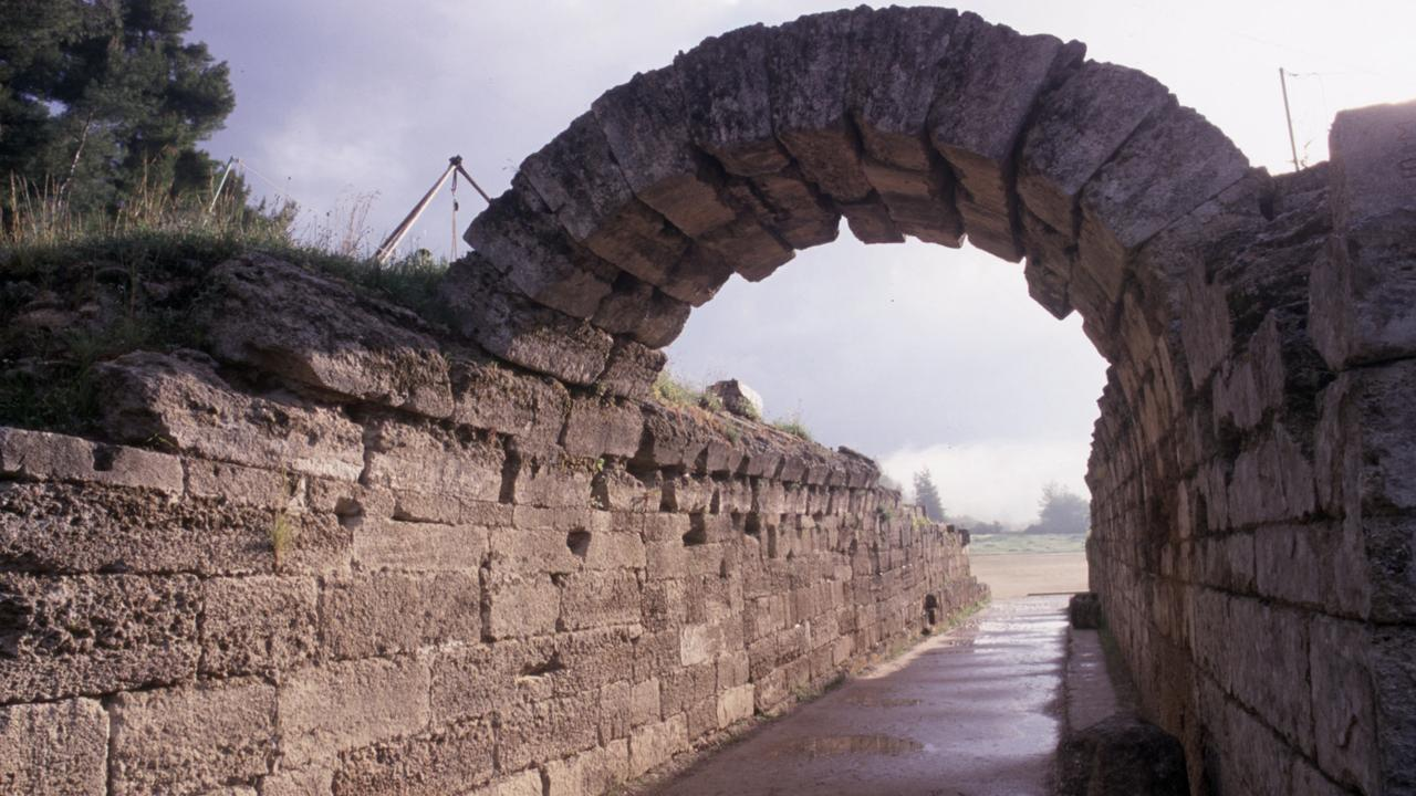 Athletes entrance to first Olympic Games stadium in Olympia, Greece. ancient /Greece