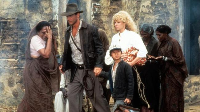 Harrison Ford, Jonathan Ke Quan and Kate Capshaw starred in Indiana Jones And The Temple Of Doom.