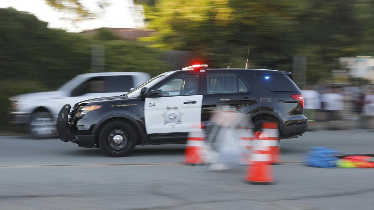 Emergency vehicles head towards the Gilroy Garlic Festival after the shooting. Picture: Nhat V. Meyer/San Jose Mercury News via AP