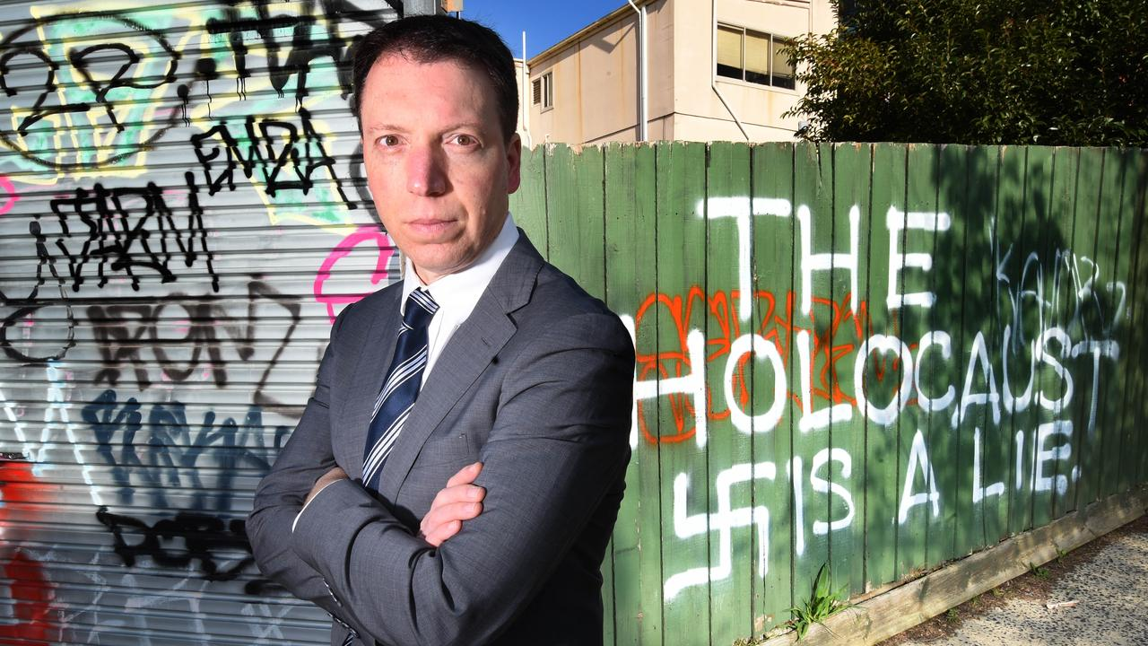 Anti-Defamation Commission chairman Dvir Abramovich in 2019 after a Melbourne cafe owned by a daughter of Holocaust survivors was targeted by anti-Semitic vandals. Picture: Tony Gough