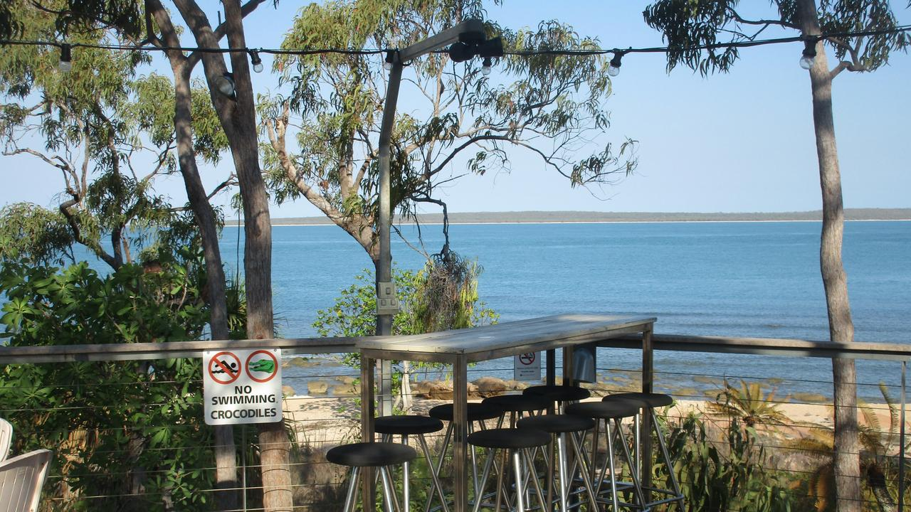 No swimming - just fishin'. The leisurely deck at Groote Eylandt Lodge. Picture: Brad Crouch