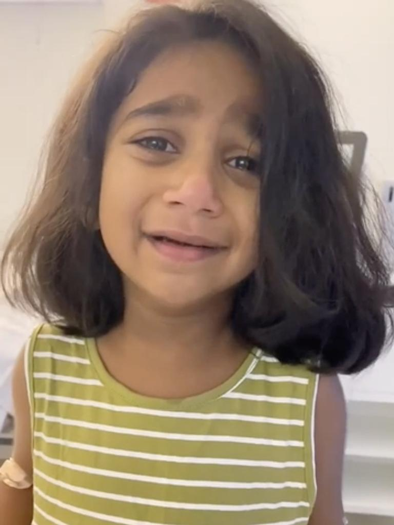Tharnicaa Murugappan, four, is currently in a Perth hospital. Picture: Supplied
