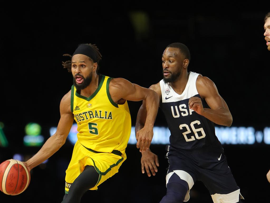 The Boomers recorded a 98-94 win over Team USA the last time the two teams played in Melbourne prior to the 2019 World Cup. Picture: Stuart McEvoy / The Australian
