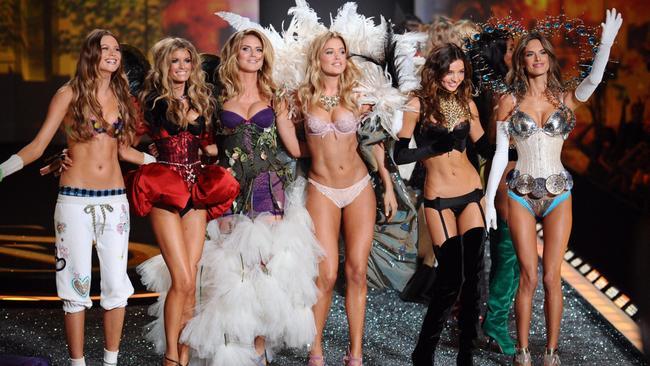 Victoria's Secret Angels (left to right) Behati Prinsoloo, Marisa Miller, Heidi Klum, Doutzen Kroes, Miranda Kerr and Alessandra Ambrosio during the Victoria's Secret Fashion Show at the Lexington Armory in New York.