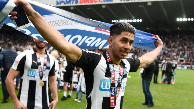 Ayoze Perez of Newcastle United celebrates winning the league.