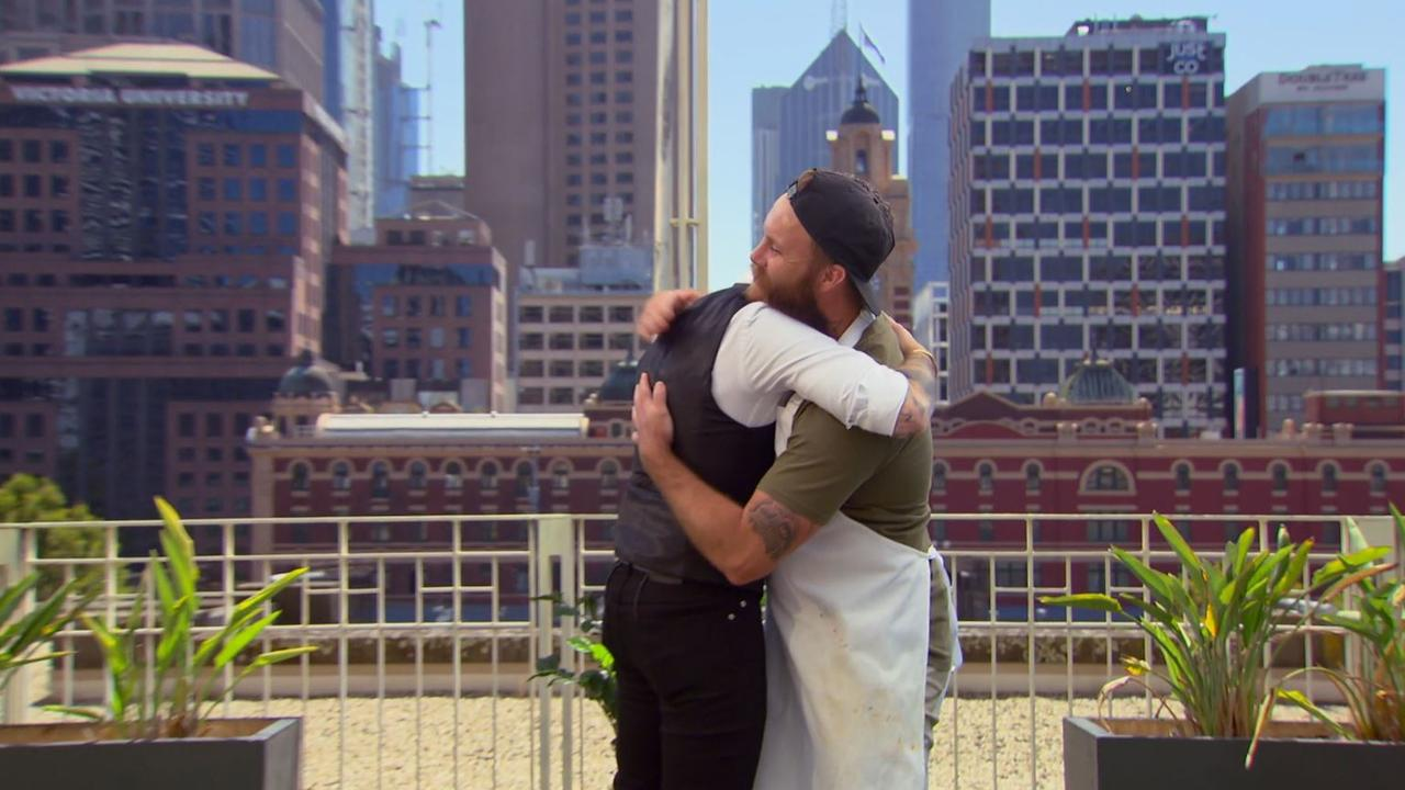 Jock loved Brent's chicken so much he gave him a hug. Picture: Channel 10