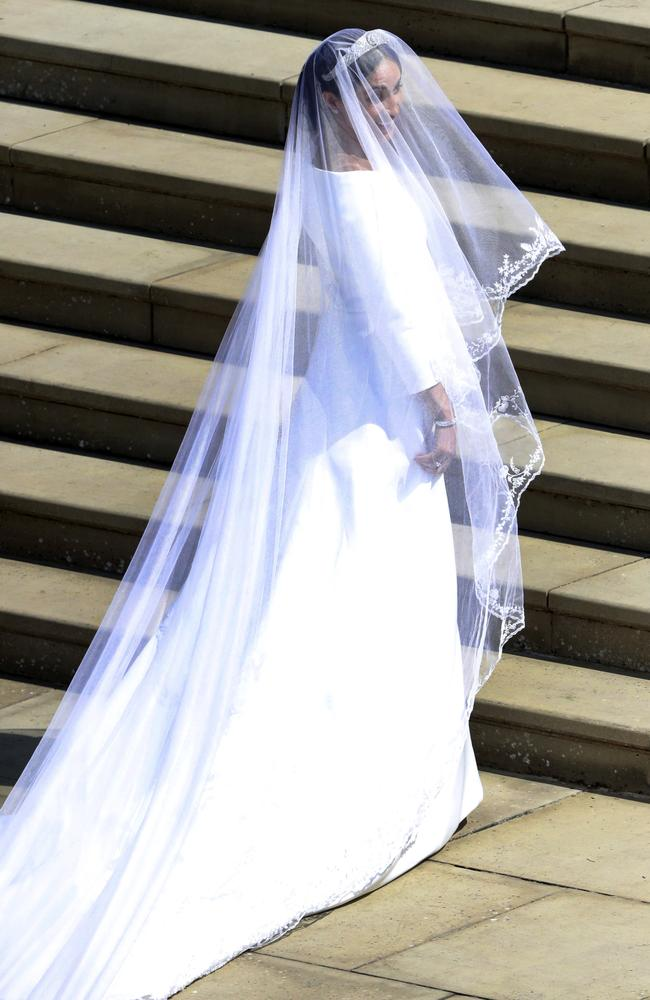 Meghan Markle stuns in Claire Waight Keller for Givenchy. Picture: Andrew Matthews/pool photo via AP