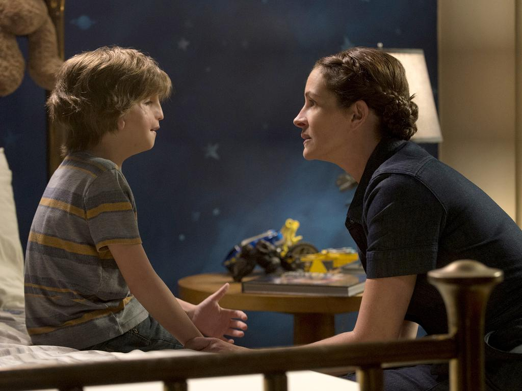 Jacob Tremblay and Julia Roberts in a scence from Wonder. Picture: Supplied