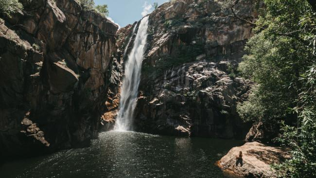 70/72Motor Car Falls Walk, Kakadu National Park NT 7.5km return - 4 hours Leading to one of the locals' favourite spots for a bit of wet season swimming, this moderate walk consists of a track and then a wee bit of rock scrambling before you are rewarded with a pristine looking wild swimming water hole. Keep an eye out for long neck turtles, who may also be enjoying the waters. Despite all this beauty, this is one of Kakadu's quieter, accessible waterfalls. There are more details on the Motor Car Falls Walk here. Picture: Tourism NT/Jarrad Seng See also: Best walks and national parks in the NT