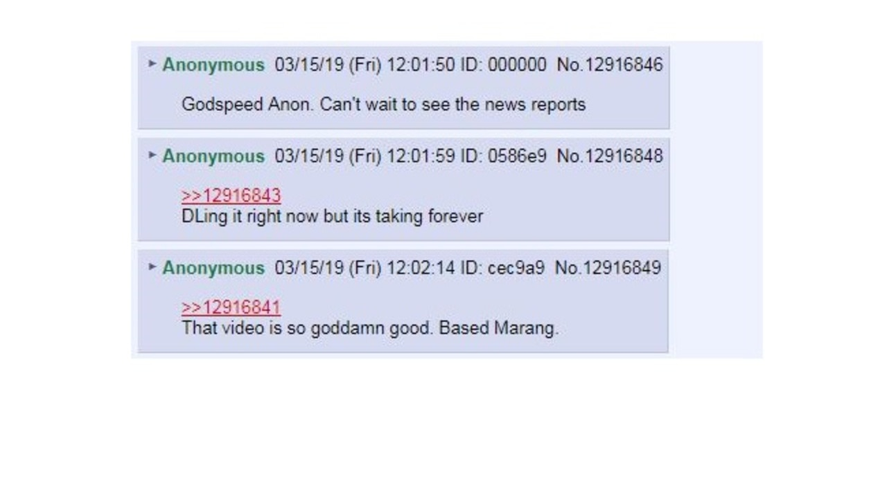 People in the 8chan forum praised the gunman's post.
