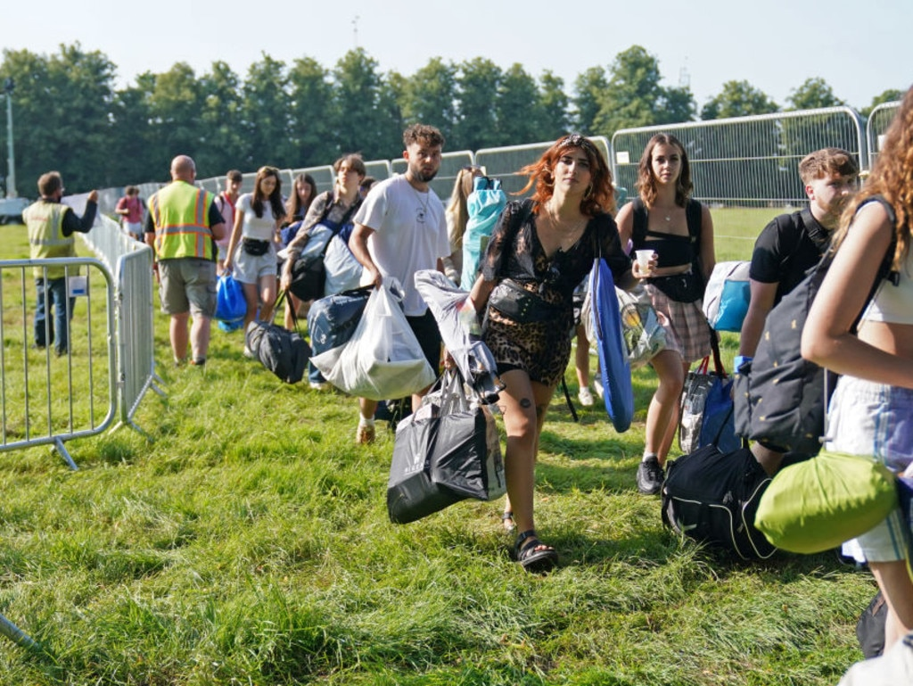 Festivalgoers arrive at the Latitude festival in Henham Park, Southwold, Suffolk. Picture date: Thursday July 22, 2021. (Photo by Jacob King/PA Images via Getty Images)