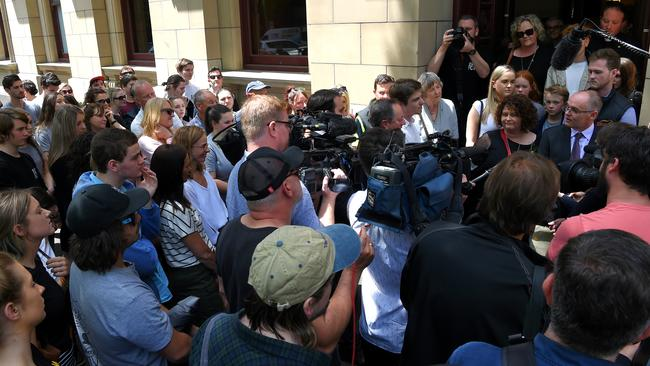 Friends, family and media wait for the parents of Pat Cronin after the sentencing. Picture: Nicole Garmson