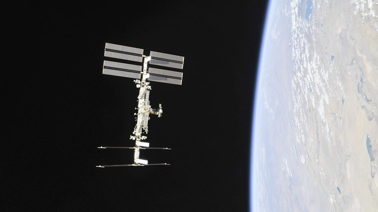 This NASA photo shows the International Space Station photographed by Expedition 56 crew members from a Soyuz spacecraft. Picture: AFP PHOTO/NASA/ROSCOSMOS