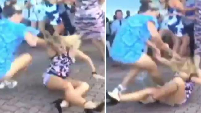 Two women continue the fight on the ground. Picture: Channel 7