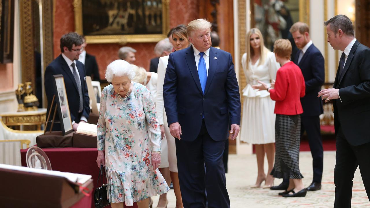 When President Trump visited Buckingham Palace Harry appeared to skulk in the background. Picture: Ian Vogler/WPA Pool/Getty Images.