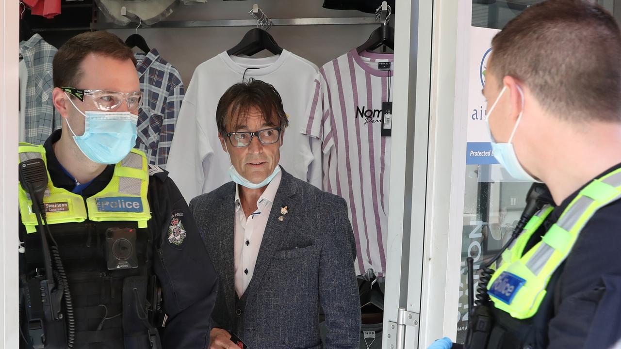 Police visited Harry Hutchinson in Harry's Clothing after the store owner opened his shop despite COVID-19 lockdown restrictions. Picture: David Crosling