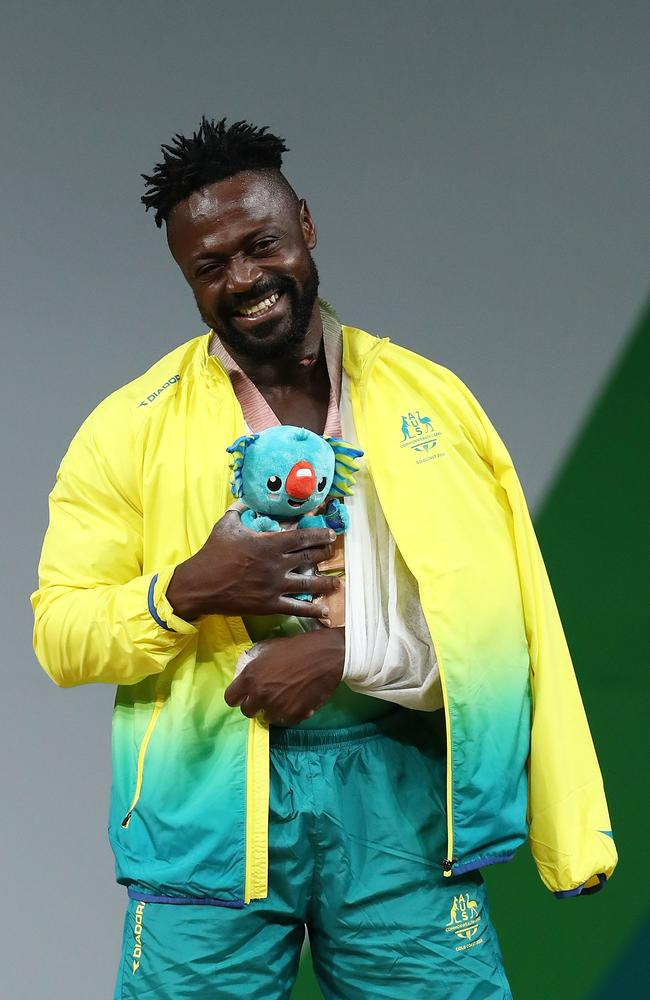 Etoundi was all smiles on the podium when collecting his medal.