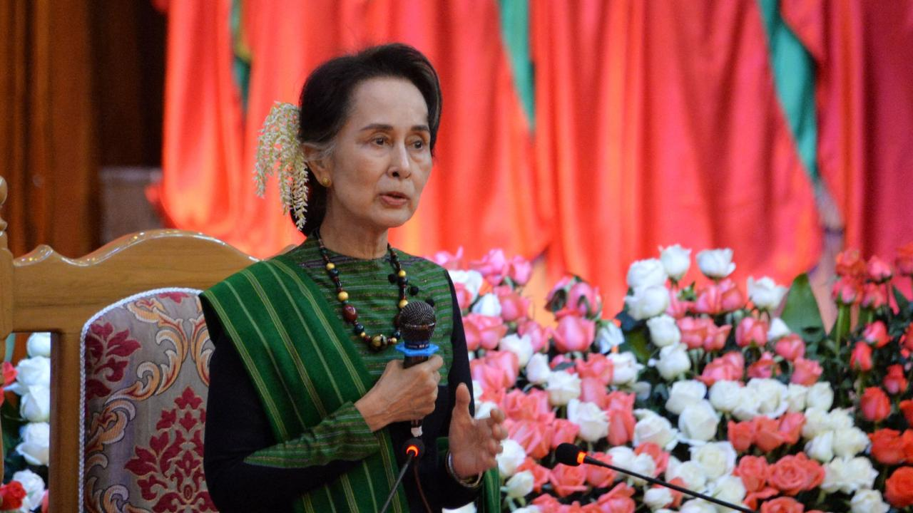 Aung San Suu Kyi has appeared in court. Picture: Thet Aung / AFP