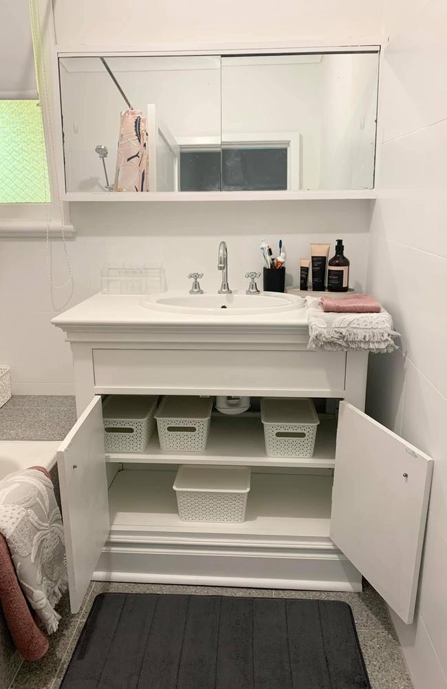 Lou also built the vanity with storage space. Picture: Supplied
