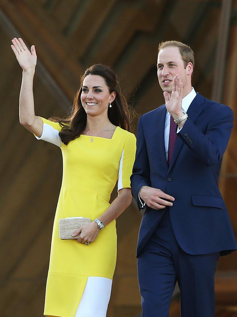 Their Royal Highnesses the Duke and Duchess of Cambridge, Prince William and Duchess Kate during their visit to the Sydney Opera House. Picture: Phil Hillyard