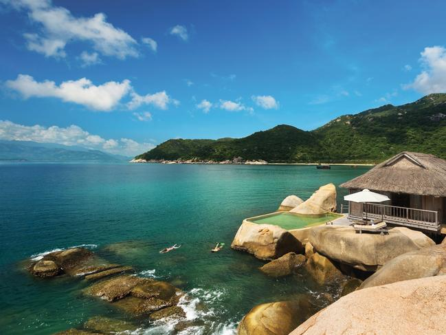 SIX SENSES NINH VAN BAY This remote refuge rests across the sparkling blue from busy Nha Trang but is accessible only by boat. The beachfront and over-water villas, as well as the serene day spa and ample venues for drinking and dining, are dotted around the Six Senses Ninh Van Bay's quiet cove.