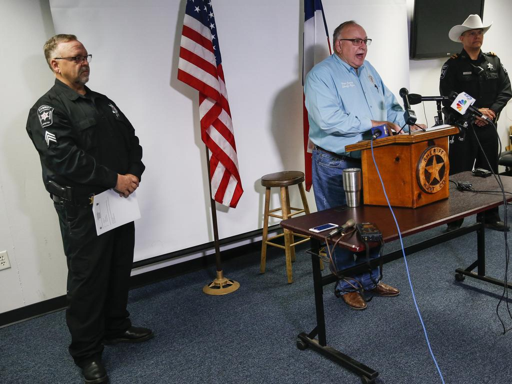 Hunt County Sheriff Randy Meeks addresses the media after the shooting. Picture: AP