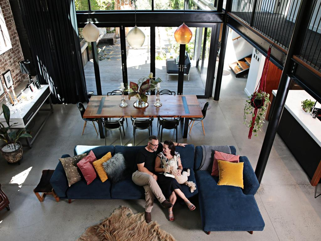Joe and Natalie Sidoti in their converted warehouse home in Annandale. Photographer: Adam Yip